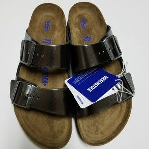 New Birkenstock Arizona Metallic Anthracite Sandal